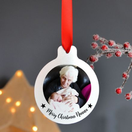 Personalised Silver Metal Photo Christmas Bauble Set